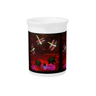 Dragonfly Lily Pond Abstract Art Pitcher