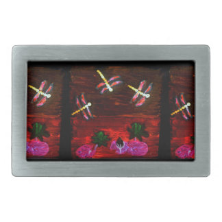 Dragonfly Lily Pond Abstract Art Rectangular Belt Buckles
