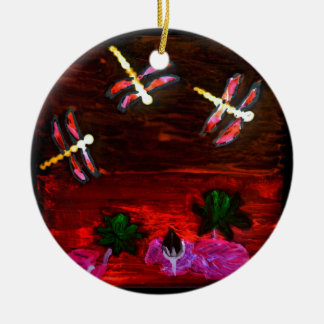 Dragonfly Lily Pond Abstract Art Round Ceramic Decoration