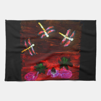 Dragonfly Lily Pond Abstract Art Tea Towel