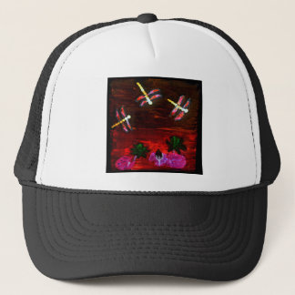 Dragonfly Lily Pond Abstract Art Trucker Hat
