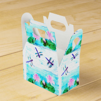 Dragonfly Lily Pond Flowers painting Favour Box