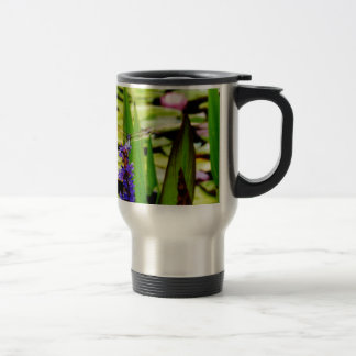 Dragonfly lotus and purple flower coffee mugs