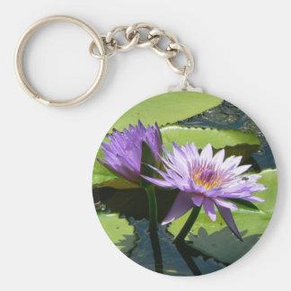 Dragonfly Lotus Basic Round Button Key Ring