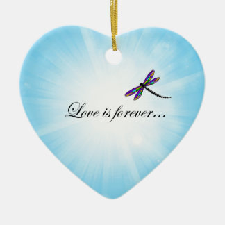 """Dragonfly  """"LOVE is Forever"""" Ceramic Heart Decoration"""