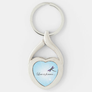 """Dragonfly """"LOVE is Forever"""" Silver-Colored Heart-Shaped Metal Keychain"""