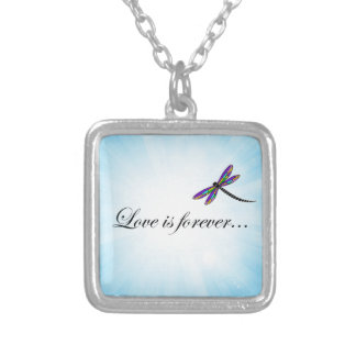 "Dragonfly  ""LOVE is Forever"" Silver Plated Necklace"