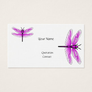 Dragonfly Magenta Business Card Linen Paper