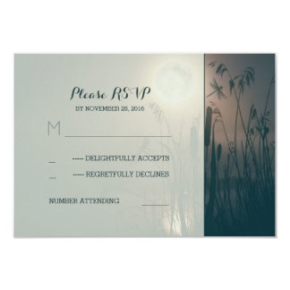 dragonfly marsh and full moon wedding RSVP Card