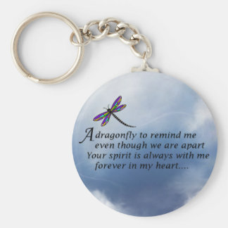 Dragonfly  Memorial Poem Basic Round Button Key Ring