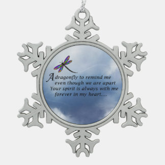 Dragonfly Memorial Poem Snowflake Pewter Christmas Ornament