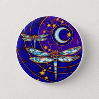 dragonfly moon 6 cm round badge