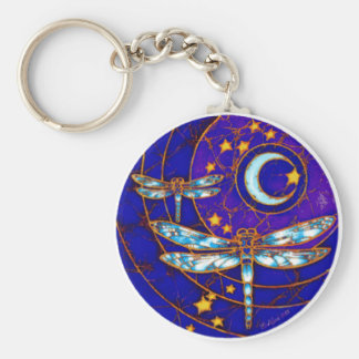 dragonfly moon key ring