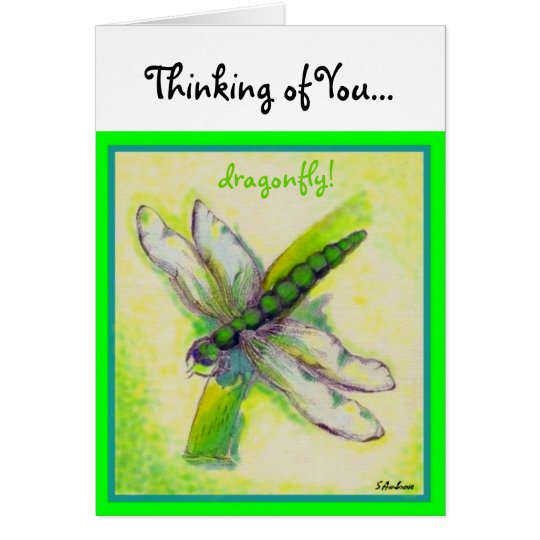 dragonfly! Note Thinking about you... Card
