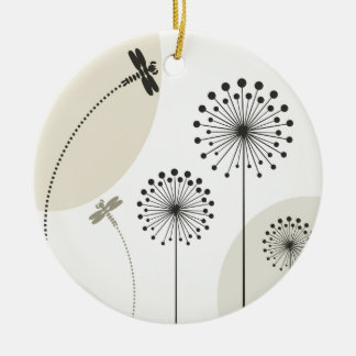 Dragonfly on a flower round ceramic decoration