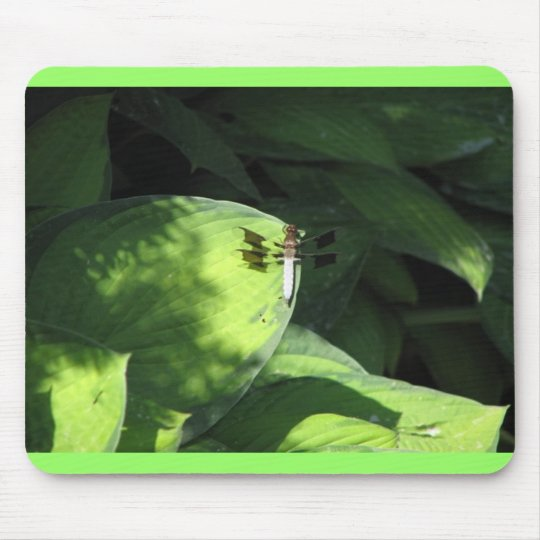 Dragonfly on Hosta Leaves Mouse Pad