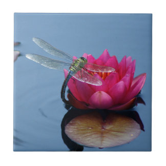 Dragonfly On Lotus Flower Small Square Tile