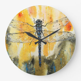Dragonfly on my Window Large Clock
