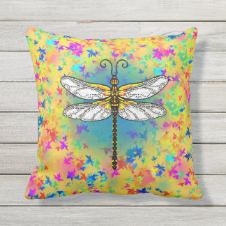 Dragonfly on Rainbow Leaves Outdoor Cushion