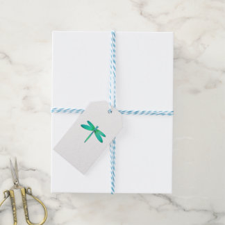 Dragonfly on White Gift Tag
