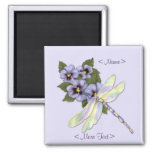 Dragonfly & Pansies - Customise Square Magnet