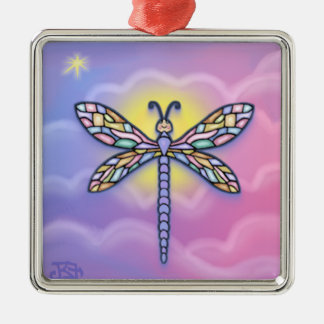 Dragonfly - Pastel Clouds Silver-Colored Square Decoration