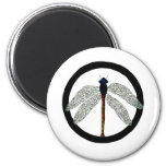 Dragonfly Peace Sign 6 Cm Round Magnet