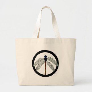 Dragonfly Peace Sign Canvas Bags