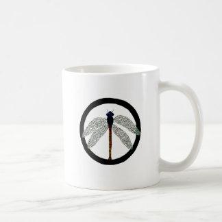 Dragonfly Peace Sign Basic White Mug