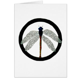 Dragonfly Peace Sign Greeting Card