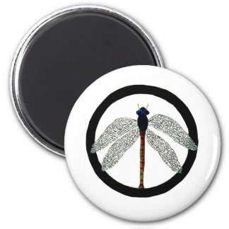 Dragonfly Peace Sign Magnet