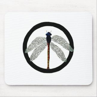 Dragonfly Peace Sign Mouse Pad