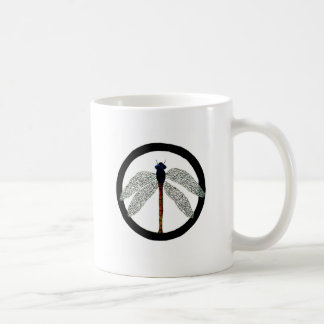 Dragonfly Peace Sign Mugs