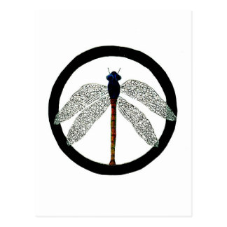 Dragonfly Peace Sign Postcard