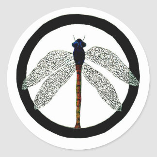 Dragonfly Peace Sign Round Sticker