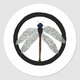 Dragonfly Peace Sign Classic Round Sticker