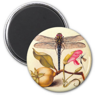 Dragonfly, Pear, Carnation, and Insect 6 Cm Round Magnet