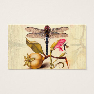 Dragonfly, Pear, Carnation, and Insect Business Card