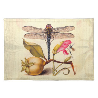 Dragonfly, Pear, Carnation, and Insect Placemat