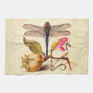 Dragonfly, Pear, Carnation, and Insect Tea Towel