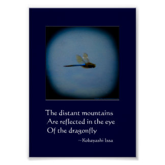 Dragonfly photo with haiku print poster