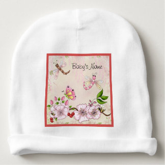 Dragonfly Pink Cherry Blossom Story Illustration + Baby Beanie