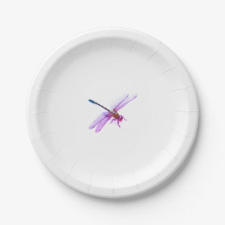 Dragonfly - pink / purple hue paper plate