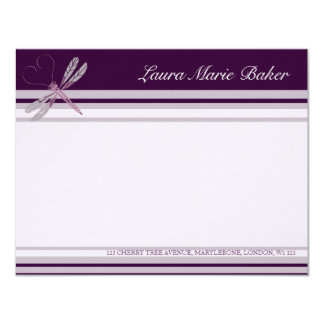 Dragonfly 'Plum' Correspondence Cards 11 Cm X 14 Cm Invitation Card