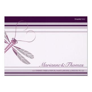 Dragonfly 'Plum' Thank You Cards 13 Cm X 18 Cm Invitation Card