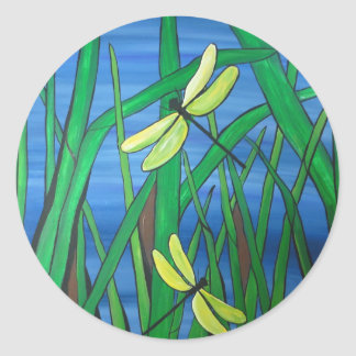 Dragonfly Pond Classic Round Sticker