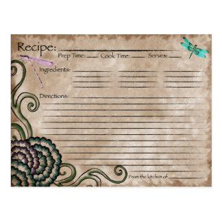 Dragonfly Recipe Card Postcard