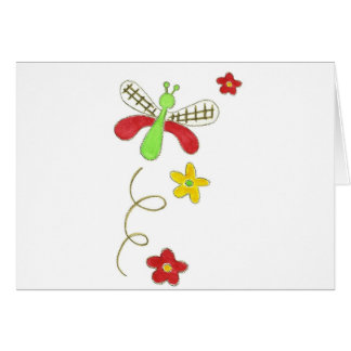 Dragonfly Red & Green Greeting Card