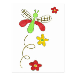 Dragonfly Red & Green Postcard