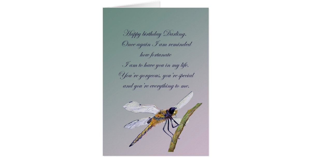 dragonfly romantic birthday wishes in watercolour card
